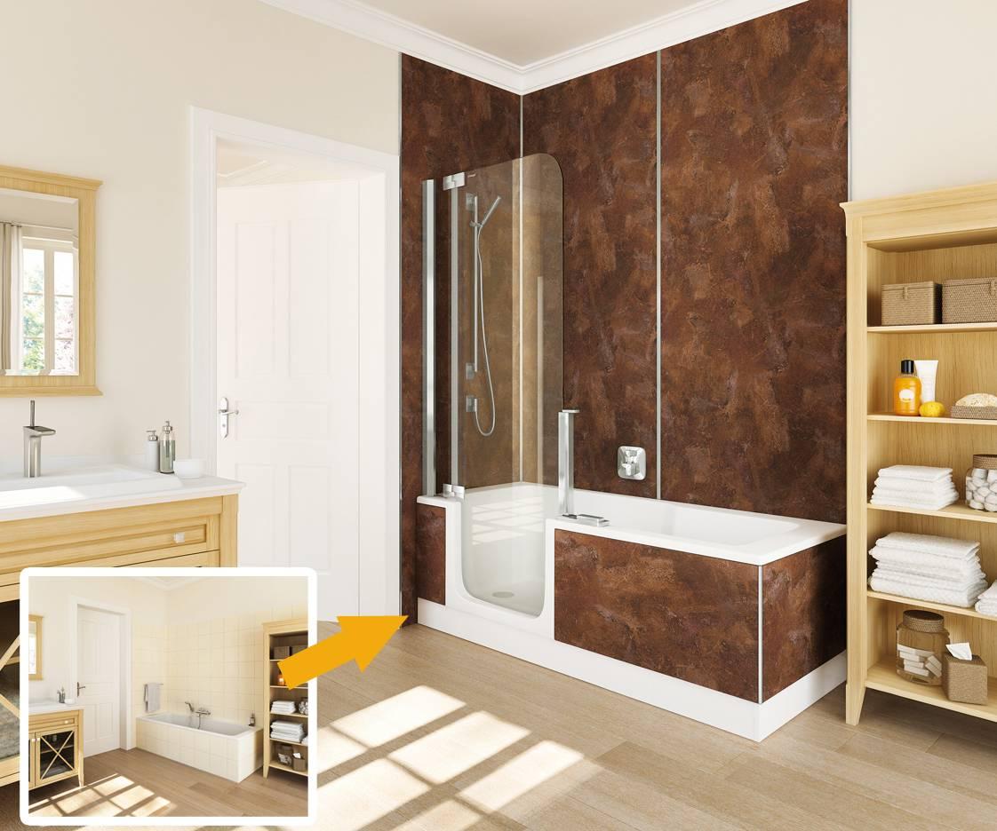 Baignoire porte twinline 2 artweger douche modul 39 eau - Porte douche baignoire ...